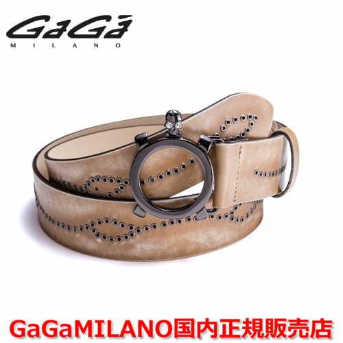 【国内正規品】GaGa MILANO ガガミラノ Men's Ladies/メンズ レディース スタッズベルト PVD×ホワイトストーン ベージュ/茶 40mm