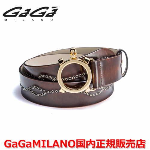【国内正規品】GaGa MILANO ガガミラノ Men's Ladies/メンズ レディース スタッズベルト YG×イエローストーン ブラウン/茶 40mm