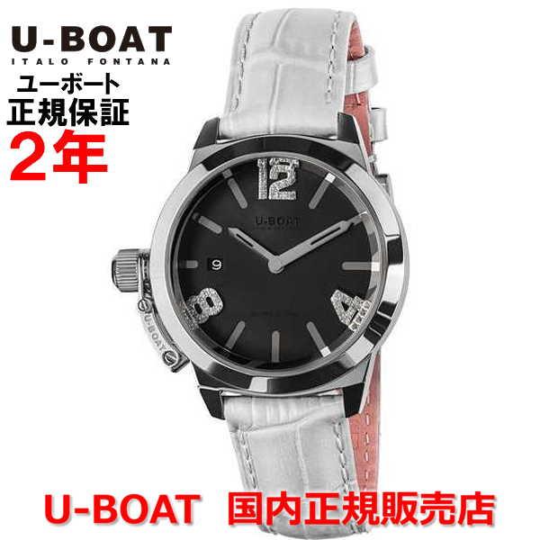 国内正規品 U-BOAT ユーボート レディース 腕時計 クオーツ クラシコ38 ブラックマザーオブパール CLASSICO 38 Black Mother of pearl 8482WH 革ベルト ブラック ホワイト 黒 白