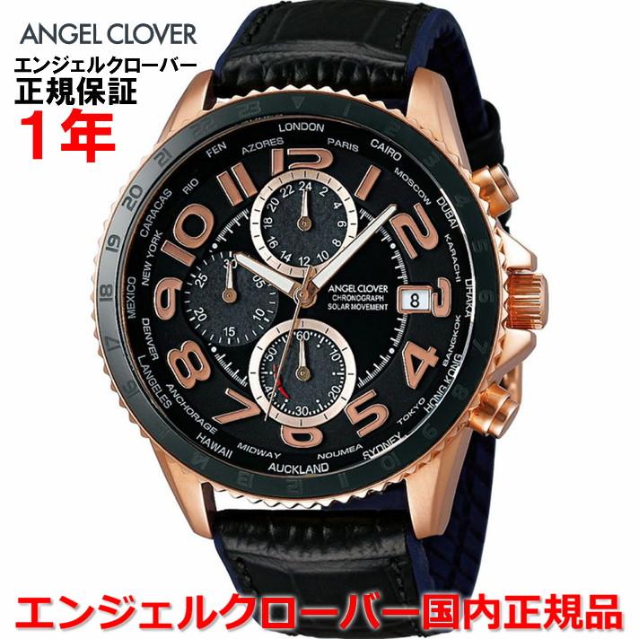 【国内正規品】ANGEL CLOVER エンジェルクローバー 腕時計 ソーラー ウォッチ メンズ モンドソーラー MONDO SOLAR MOS44PBK-BK