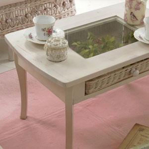 フィオーレ テーブル (机 センターテーブル ガラス ラタン)[サンフラワーラタン]