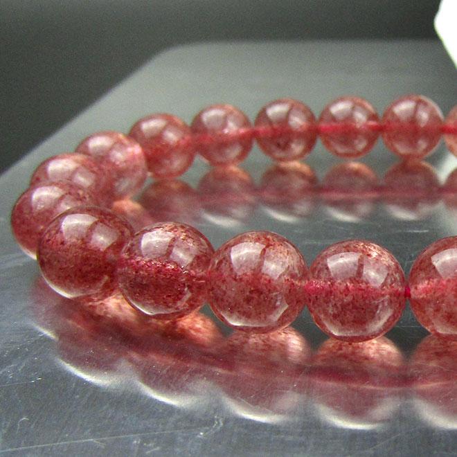ストロベリークォーツ ブレスレット 天然石 パワーストーン ピンクエピドート ブレス 9.5mm 苺水晶 あす楽