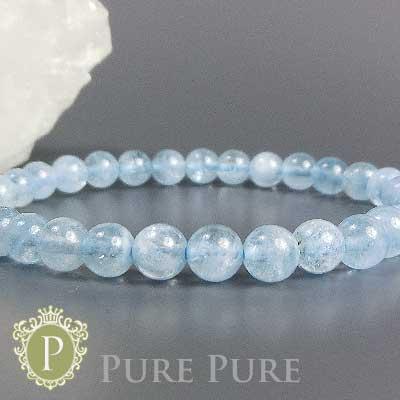 アクアマリン ブレスレット 天然石 パワーストーン ブレスレット 藍玉 水宝玉 アクアマリン ブレス 6mm