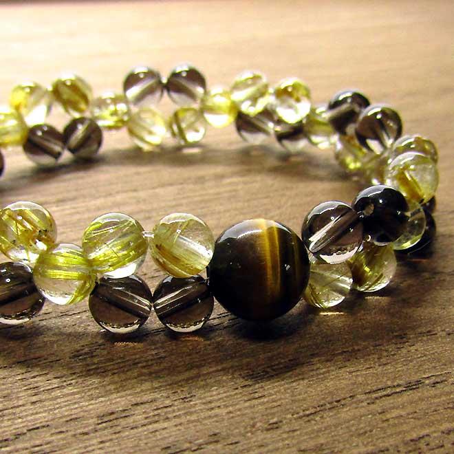 タイガーアイ ブレスレット 天然石 パワーストーン タイチンルチルクォーツ スモーキークォーツ ブレス