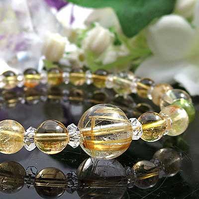 タイチンルチルクォーツ シトリン ペリドット ブレスレット 天然石 パワーストーン ブレス ルチルクォーツ ブレスレット