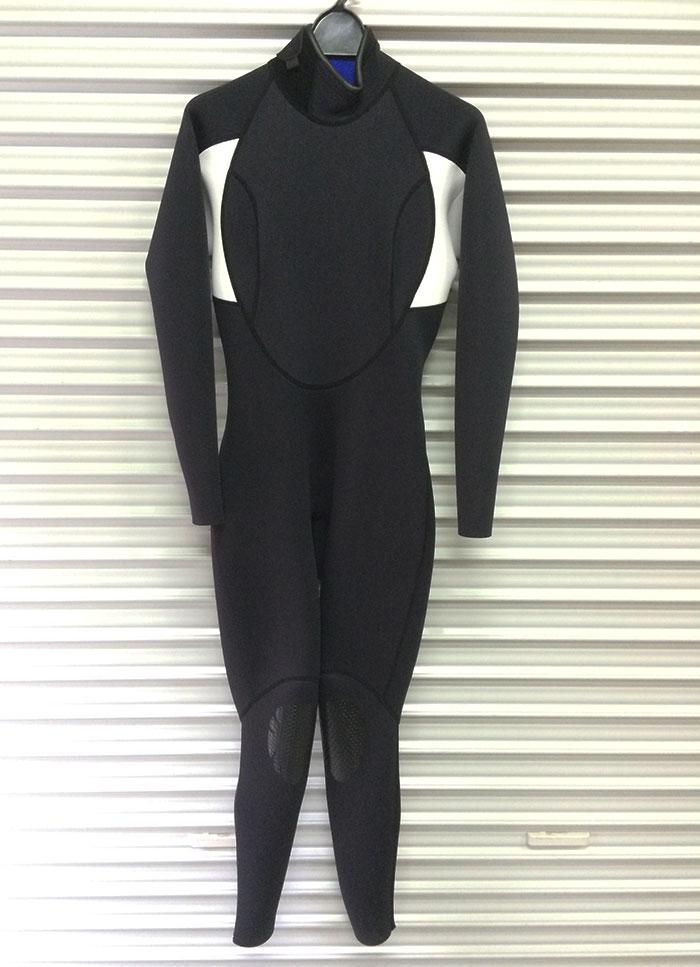 訳あり 真夏用ウェットスーツ 日焼け防止・くらげ対策フルスーツ(日本製) 2mm 女性用 レディース ブラック×ホワイト レディースMサイズ 送料無料