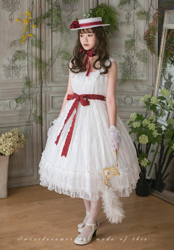 ロリータファッション SweetDreamer Vintage French純白ドレス チョーカープレゼント 白ロリ 姫ロリ ワンピース ノースリーブ レディース ロリィタ loli0995
