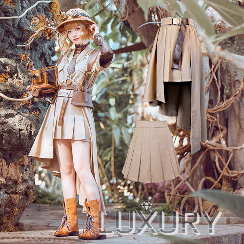 スチームパンク スカート2枚セット steampunk 2way カーキ 春夏 レイヤード ゴスロリ ロリータファッション loli2134