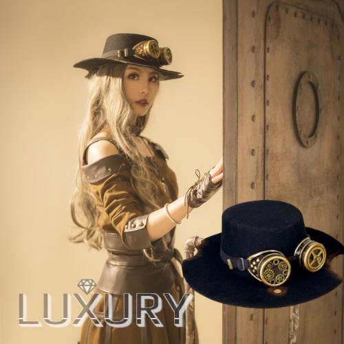 スチームパンク ゴーグル付きハット 帽子 steampunk ブラック フリーサイズ 通年 ゴスロリ ロリータファッション loli2150