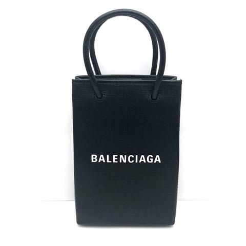 BALENCIAGA バレンシアガ ショッピング フォンホルダー ショルダーバッグ レザー ブラック ロゴ 593826 中古品 本物 送料込み!!
