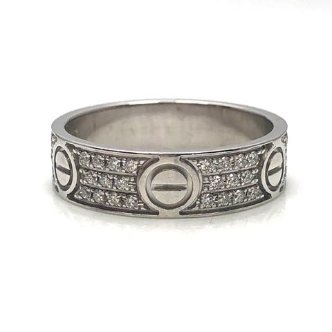 Cartier カルティエ リング ラブリング 指輪 WG ホワイトゴールド アフター パヴェダイヤ 22号 中古品 本物 送料込み!!