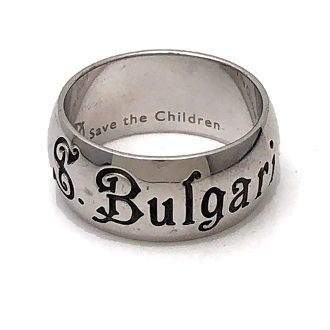 BVLGARI ブルガリ リング 指輪 セーブザチルドレン チャリティ シルバー ロゴ 20号 メンズ 中古品 本物 送料込み 送料無料!!