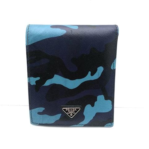 PRADA プラダ コンパクトウォレット 財布 2つ折り レザー 送料込み カモフラ 迷彩 本物 ブルー 有名な 人気商品 中古品