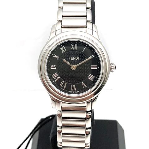 FENDI フェンディ クラシコ 腕時計 クオーツ SS ステンレス ブラック レディース F251021000 中古品 本物 送料込み!!