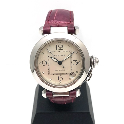 Cartier カルティエ パシャC 腕時計 SS ステンレス レザー 革ベルト パープル クリスマス限定 レディース W3106199 中古品 本物 送料込み 送料無料!!