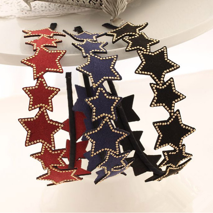 Studded wind Star Headband [hac006] heaakuse hair accessories wedding 3 party head axe ornament black ribbon headband | |