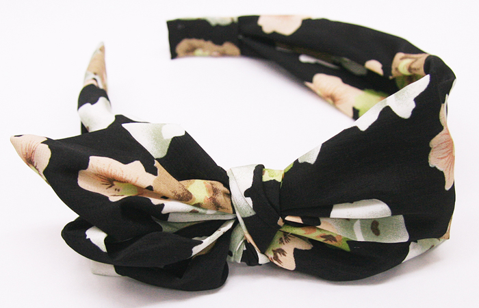 Ribbon Flower Headband Scarf [hac032] heaakuse hair accessories wedding 3 party head axe flower black    
