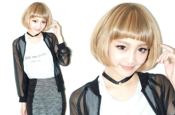Wig short full wig MIX color mushroom's heat resistant wigs short wig hair do with cosplay wig wigs extensions AQUADOLL aquador | | ||