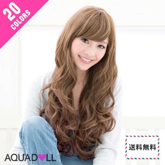 Wig || It is wig extension costume play wig net 付全 20 colors AQUADOLL aqua Dole full wig wig [宅送] || raven-black hair long rich curl wave long [wg005] heat resistance wig softly