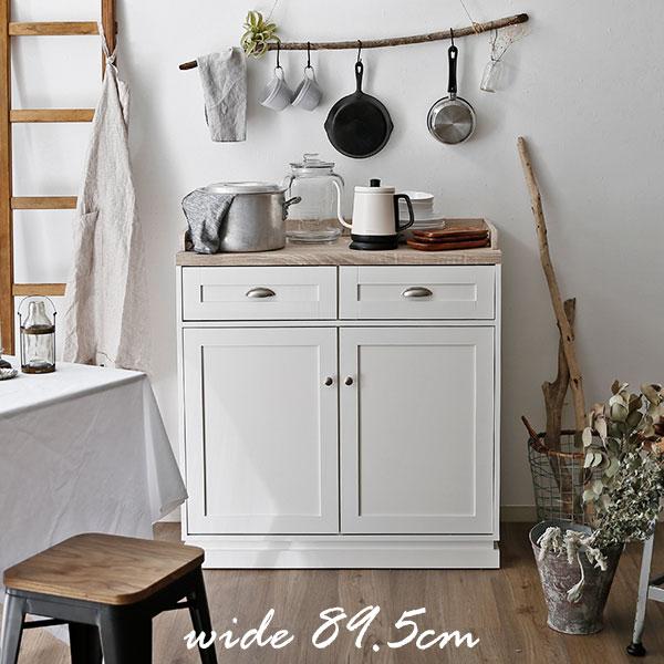 アンティーク レンジ台 食器棚 キッチン キャビネット ヴィンテージ シャビーシック フレンチシャビー 白 ホワイト おしゃれ ロータイプ 幅90cm 北欧 収納 一人暮らし 1人暮らし ワンルーム コンパクト 福袋 新生活