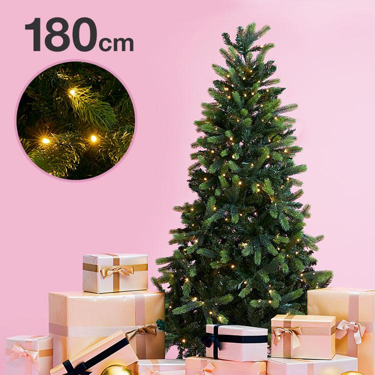 [クーポンで400円OFF 4/1 10:00~4/2 9:59] クリスマスツリー 180cm クリスマス ツリー LED LEDライト 180cmクリスマスツリー シンプル 置物 簡単組立