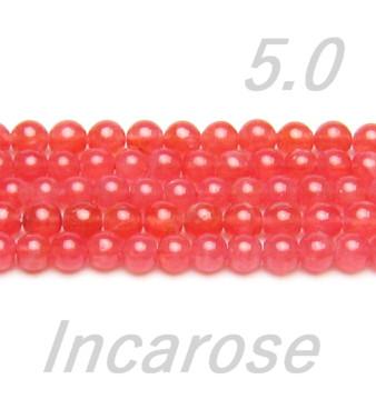 高品質ビーズ インカローズ・ロードクロサイトAAA 5.0ミリ玉 半連/40粒前後