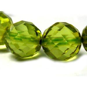 大幅にプライスダウン 高い素材 天然石ビーズ グリーンアンバー32面カット 琥珀 1粒 8.0mm玉