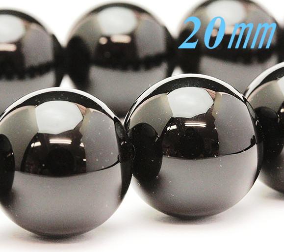 ブレスレット!チベット モリオン (黒水晶)AAA ラウンド 20.0mm玉/14~18ミリ