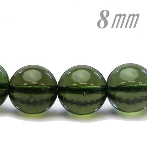 隕石ビーズ/パワーストーン モルダバイト 8.0ミリ 1粒売り/バラ売り 高品質/鑑定済み