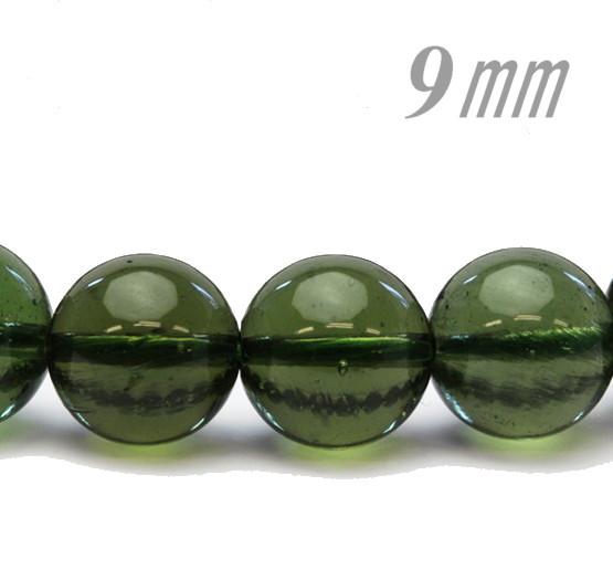 隕石ビーズ/パワーストーン モルダバイト 9.0ミリ 1粒売り/バラ売り 高品質/鑑定済み