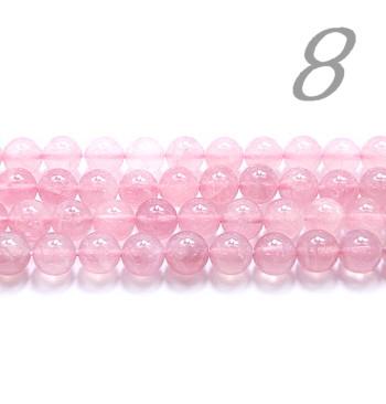 天然石ビーズ ディープローズクォーツ(クリアー)AAA 8.0mm玉 マダガスカル産 24粒売り/半連/ブレスレット作りに最適!お作りも可能!【送料無料】