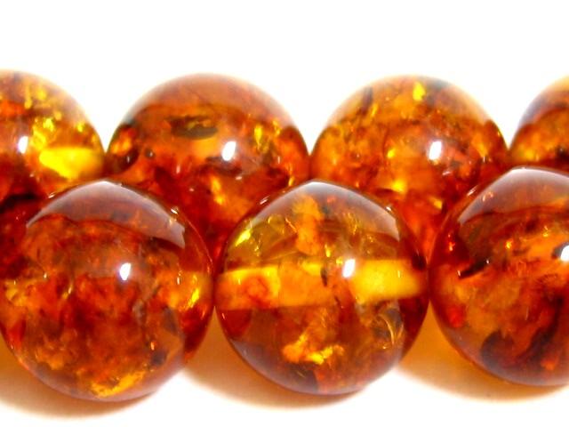 ビーズ 琥珀 アンバー AA10.0ミリ玉 20粒(約20センチ)天然石 【ポーランド産】