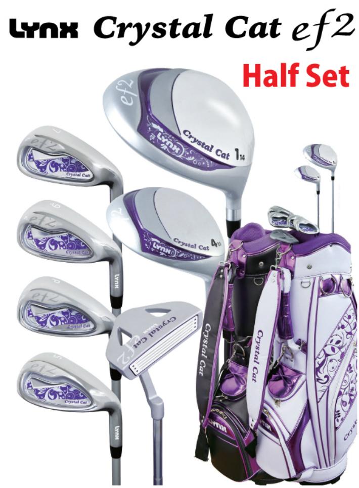 [公式]Lynxゴルフ市場店Lynx CrystalCatef2 ハーフセット 1W/4W/#7/#9/PW/SW/PT(7本セット) カーボン(L)ゴルフセット レディース ゴルフクラブセット