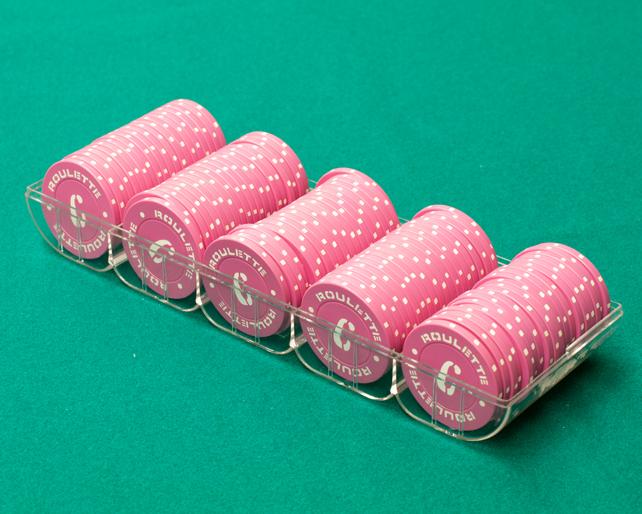【カジノ用品】カラープレイチップ/C柄 ピンク 100枚セット