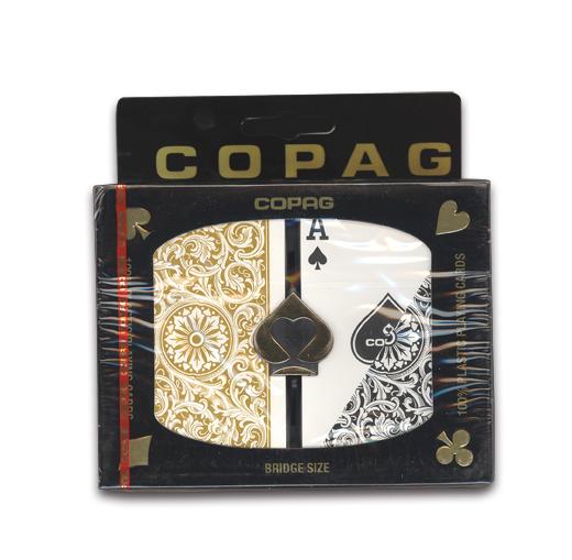 WSOPでも使用されたコパッグのブリッジサイズ 最安値に挑戦 トランプ ポーカー COPAG PLASTIC BRIDGE SIZE お買い得品 コパッグ Gold Black ゴールド ブリッジサイズ ブラック