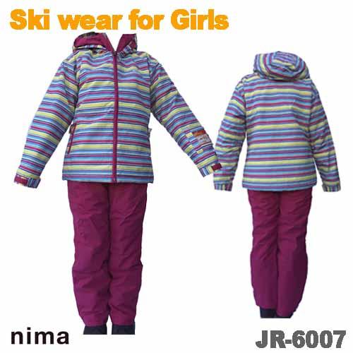 ボーダープリントジャケットと 無地のパンツを合わせたスノーウェアセットです お安くなってます スキーウェア スキースーツ スノーボードウェア 5☆好評 JR-6007 オンヨネ ジュニア 子供用 ガールズ ご予約品 上下セット