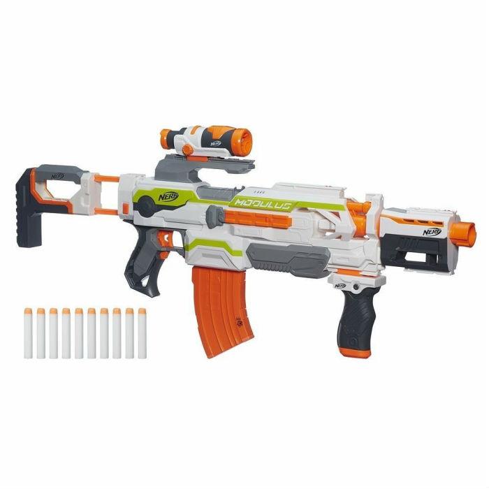 ナーフ 海外モデル オレンジトリガー モジュラス ECS-10 ブラスター Nerf N-Strike Modulus ECS-10 Blaster 並行輸入品 【カスタマイズ 大型 電動ガン ターゲットスコープ ドロップグリップ デュアル バレル ダーツガン 】