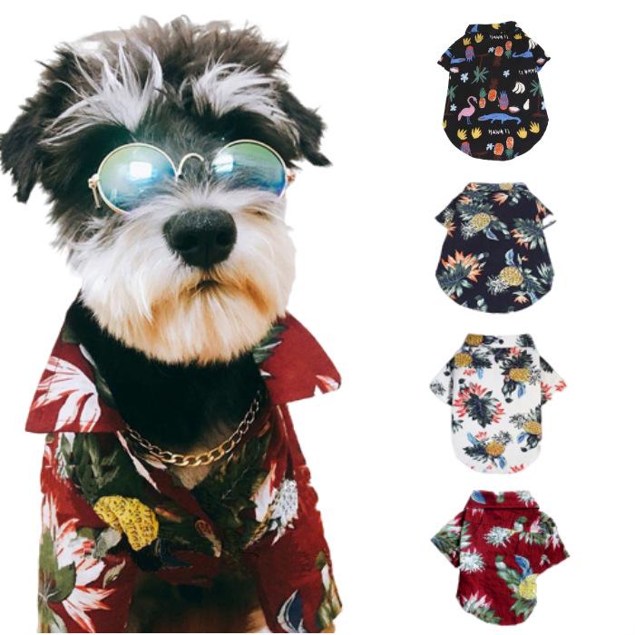 海外並行輸入正規品 メール便送料無料 ダンディワンちゃんに変身 派手過ぎず地味過ぎないアロハシャツです ワンちゃん 夏用アロハシャツ 4種 サイズ XS S M L 高級品 XL XXL 夏用 小型犬 服 犬の服 ドッグ ポリエステル さわやか ペット服 ハワイアンシャツ 目立つ 涼しい かわいい 薄目生地 犬服 かっこいい カラフル 夏服 派手 前開き 半そで 犬