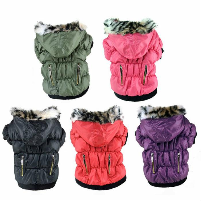 メール便送料無料 ワンちゃんだって冬もオシャレしてお散歩に行きたい ワンちゃん 冬用コート ジャケット クラシックジッパーデザイン フード付き 裏地フリース S M L かわいい 犬 小型 かっこいい 暖かい 服 上等 ダウン風 冬服 買物