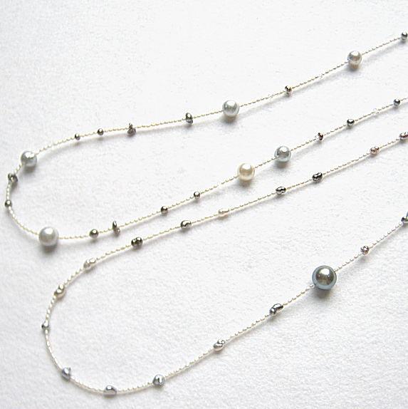 南洋真珠 グレー黒蝶真珠 黒蝶真珠ケシ SV極小淡水真珠ネックレス80cm
