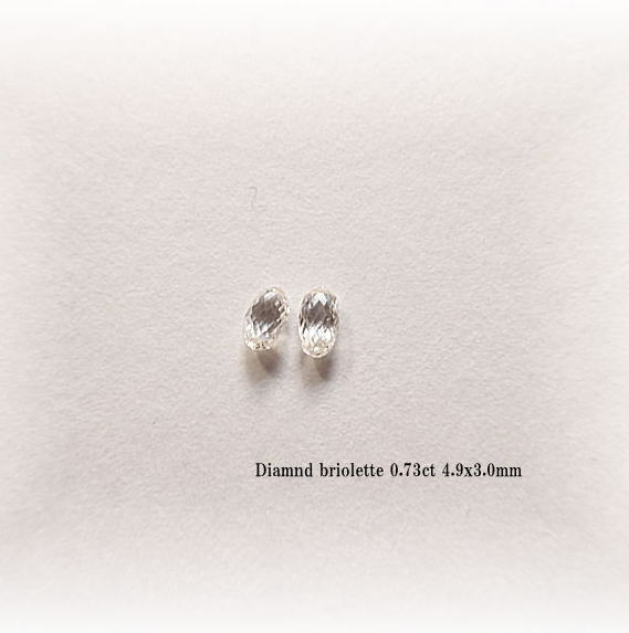 ダイヤモンド ブリオレット0.73ct K18ロー付けペアチャーム