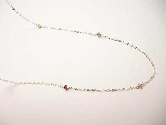 カラフルロンデール K10YG ゴールド ロングチェーン80cm ネックレス【淡水真珠部分天然石に変更】