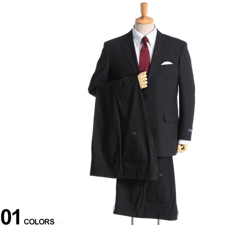 大きいサイズ メンズ HYBRIDBIZ (ハイブリッドビズ) 2WAYストレッチ ウォッシャブル ストライプ シングル 2ツ釦 ワンタック ツーパンツ スーツ BLACK スーツ シングルスーツ ストレッチ 伸縮 紳士 パンツ2本 洗える ウール 5120150NT