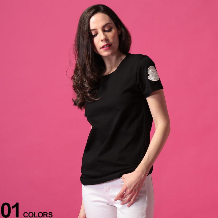 MONCLER (モンクレール) 綿100% 袖BIGマーク クルーネック 半袖 Tシャツ BLACKブランド レディース トップス Tシャツ シャツ クルー 無地 半袖 春夏 コットン シンプル MCL8C71600V8102