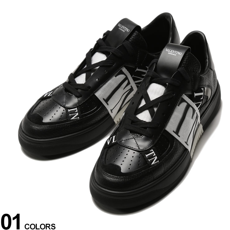 P5倍 VALENTINO (ヴァレンティノ) レザー ロゴテープ スニーカー VL7Nブランド メンズ 男性 シューズ 靴 スニーカー レザースニーカー 革 モノトーン ストリート VLTY2S0C58