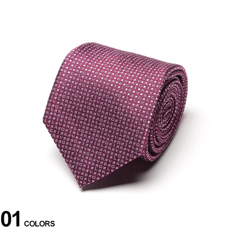 BVLGARI (ブルガリ) シルク100% ミニロゴ ネクタイ LOGOMANIA PURPLEブランド メンズ 男性 紳士 ビジネス ネクタイ シルク 絹 フォーマル ギフト プレゼント ロゴ BLG241836S0