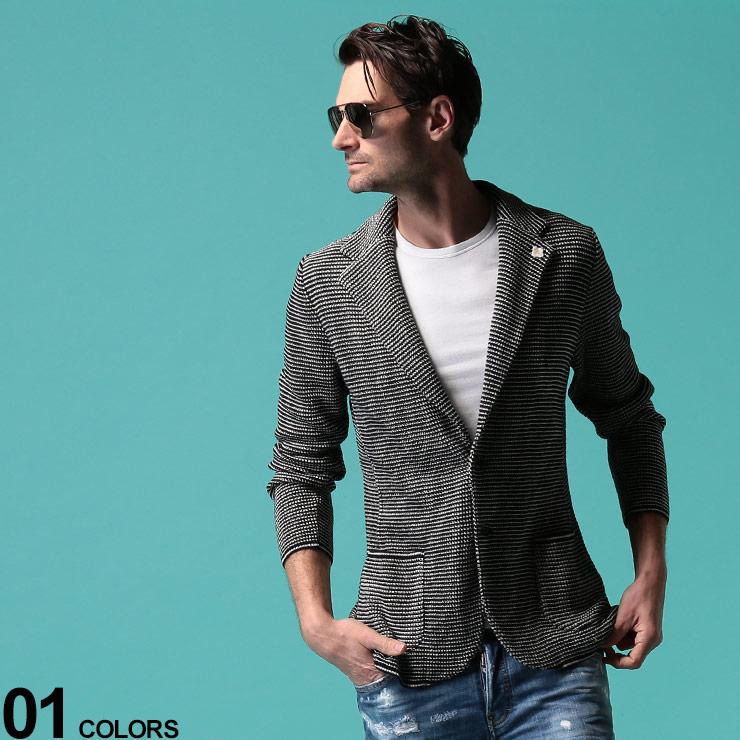 LARDINI (ラルディーニ) 綿100% ミニボーダー シングル 2ツ釦 ニットジャケットブランド メンズ 男性 アウター ジャケット テーラード 春物 ニット コットン 縞柄 カジュアル きれいめ LDLIM56EI54006