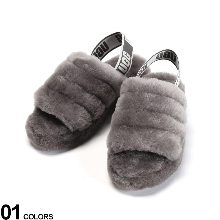 P5倍 UGG Australia (アグ オーストラリア) シープスキン ロゴストラップ サンダル FULL YEAH SLIDE GRAYブランド レディース シューズ 靴 シューズ サンダル スライド もこもこ スポーティー ファー 秋 冬 UGGL1095119