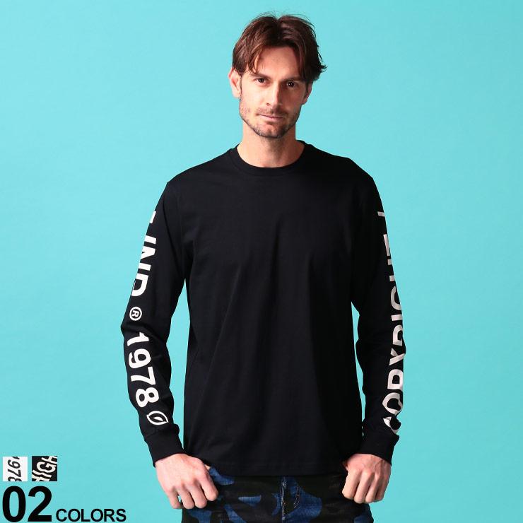 DIESEL (ディーゼル) 綿100% 袖ロゴプリント クルーネック 長袖 Tシャツブランド メンズ 男性 トップス Tシャツ 長袖 シャツ プリント ロンT クルー コットン ストリート DSSEF8091A