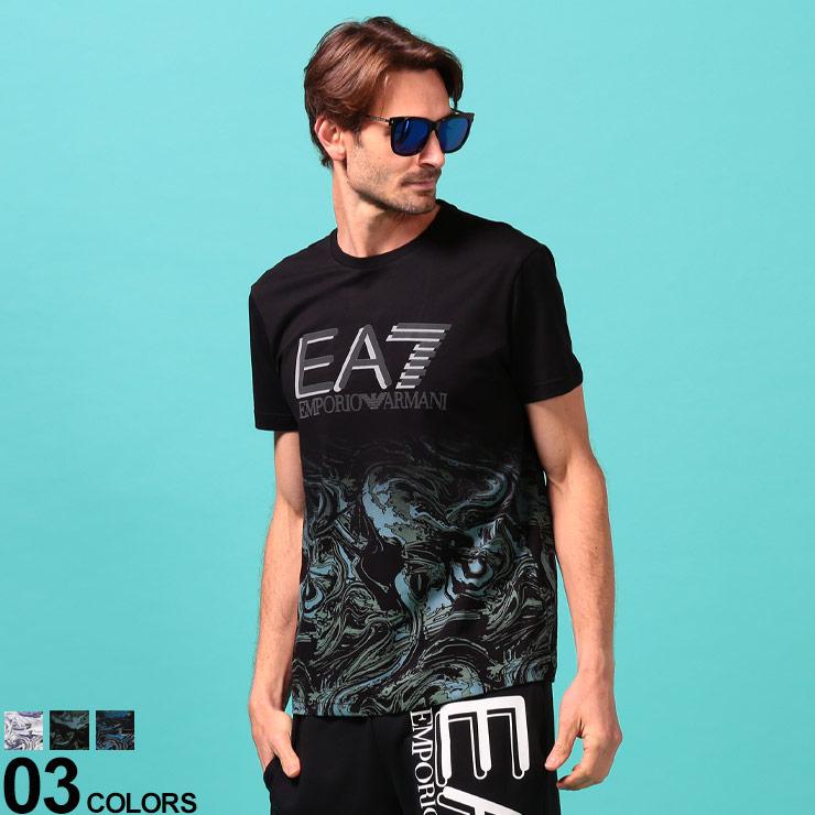 EMPORIO ARMANI EA7 エンポリオ アルマーニ イーエーセブン ブランド メンズ 男性 トップス Tシャツ プリントT クルー Tシャツブランド コットン 綿100% 交換無料 夏 春 期間限定今なら送料無料 半袖 渦巻プリント クルーネック EA3HPT03PJ02Z スポーツ シンプル
